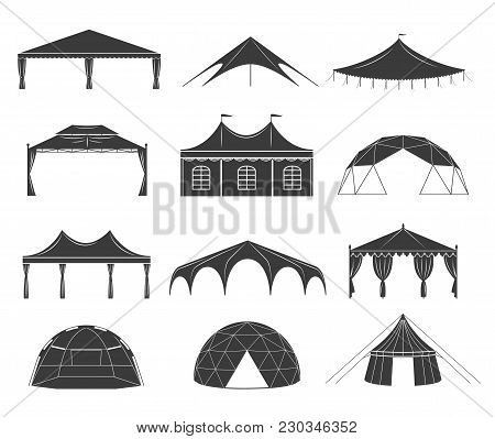Event Tent Set. Black Fabric Shelter Silhouette, For Party Rentals, Wedding, Outdoor And Summer Even