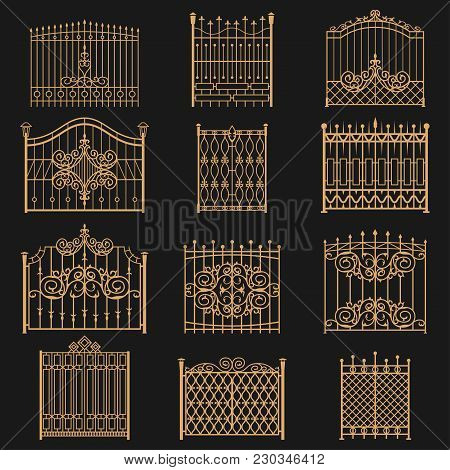 Wrought Iron Gate. Elegant Barrier Fence, Or Hedge For Park, House, Entrance Or An Opening For Passa