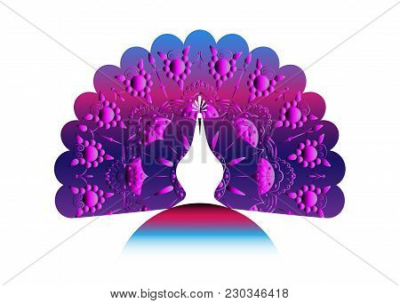 Peacock Icon Silhouette Tail Decorated Mandala. Logo Design Vector Template Linear Style. Outline Bi