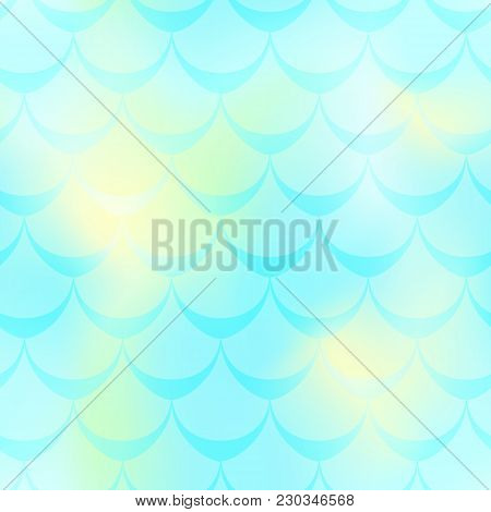 Mint Yellow Mermaid Skin Vector Background. Cold Gamma Iridescent Background. Fish Scale Pattern. Se
