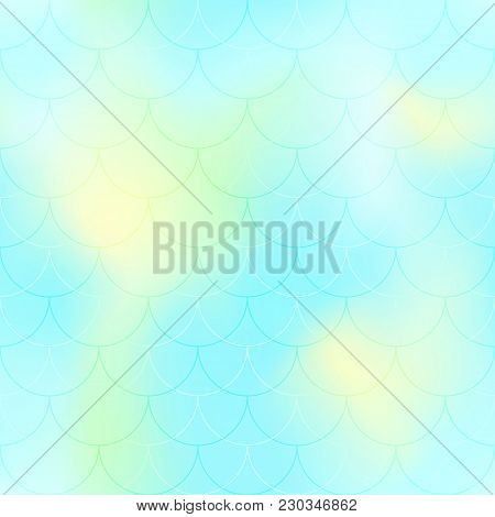 Turquoise Mermaid Scale Vector Background. Pastel Iridescent Background. Fish Scale Pattern. Seamles