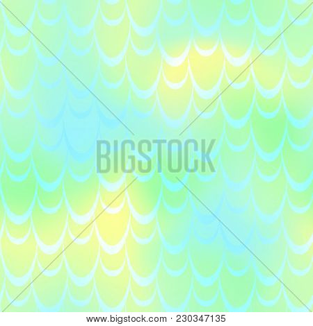 Yellow Green Mermaid Scale Vector Background. Spring Iridescent Background. Fish Scale Pattern. Seam