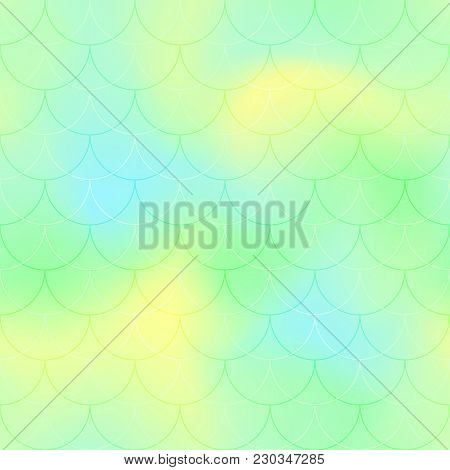 Green Yellow Mermaid Scale Vector Background. Pastel Iridescent Background. Fish Scale Pattern. Seam