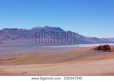 Intense Pastel Colored Landscape Of Atacama Desert Landscape After Sunrise, Chile. High Altitude Des