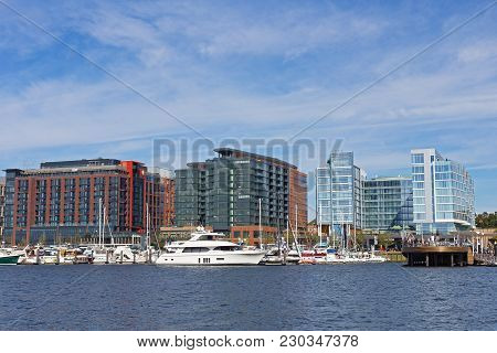 Washington Dc, Usa - October 28, 2017: The Wharf In Us Capital After The Three-year Long Project Com