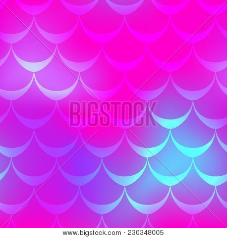 Pink Blue Mermaid Scale Vector Background. Neon Iridescent Background. Fish Scale Pattern. Seamless