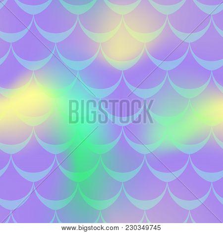 Violet Yellow Green Mermaid Vector Background. Neon Iridescent Background. Fishscale Pattern. Mermai