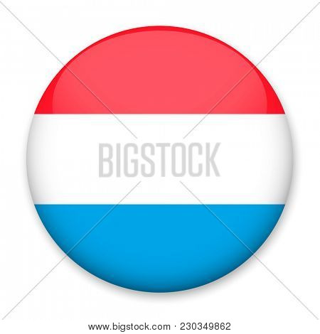 Flag of Luxembourg  in the form of a round button with a light glare and a shadow.