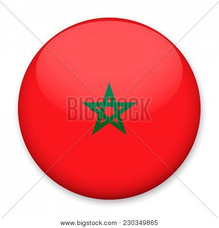 Flag of Morocco in the form of a round button with a light glare and a shadow.