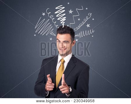 Young businessman with white scribbles around his head