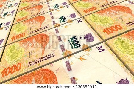 Argentina pesos bills stacks background. 3D illustration.