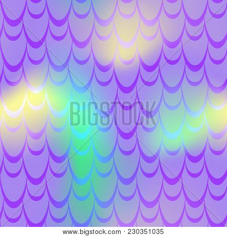 Violet Yellow Mermaid Scale Vector Background. Neon Iridescent Background. Fish Scale Pattern. Seaml