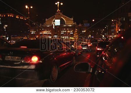KYIV, UKRAINE - JANUARY 17, 2018: Traffic jam during rush hour in evening