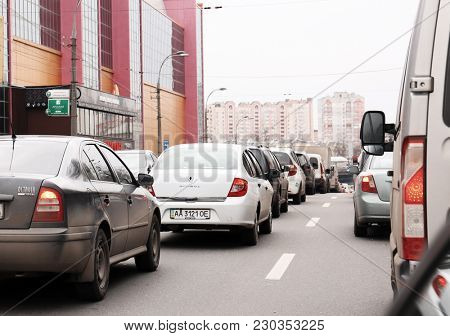 KYIV, UKRAINE - DECEMBER 29, 2017: Automobiles in traffic jam