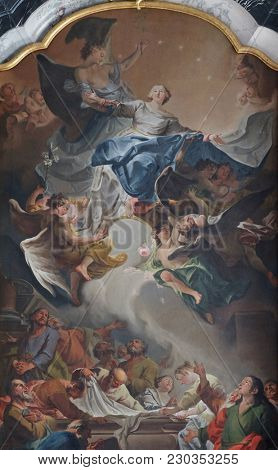 AMORBACH, GERMANY - JULY 08: Assumption of the Virgin Mary, Main altar in Amorbach Benedictine monastery church in Lower Franconia, Bavaria, Germany on July 08, 2017.