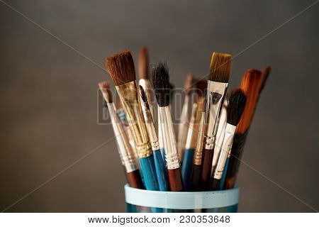 Various used paint brushes, close up