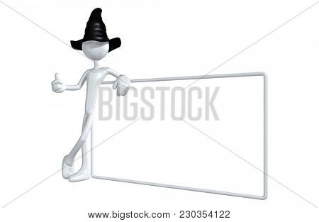 The Original 3D Character Illustration Wearing A Wizard Hat With A Blank Sign