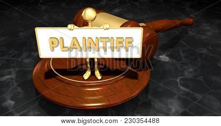 The Original 3D Character Illustration Law Legal Concept Holding A Sign That Reads Plaintiff
