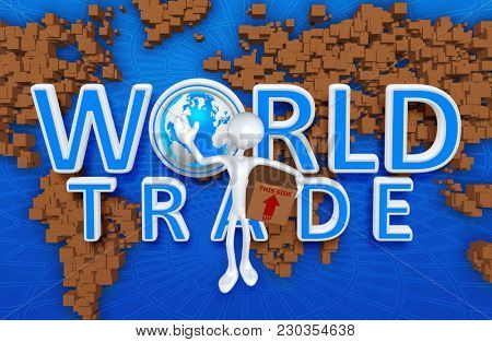 The Original 3D Character Illustration World Trade Concept