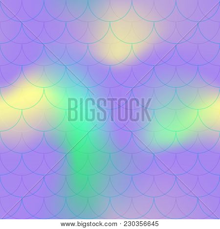 Ultra Violet Yellow Mermaid Scale Vector Background. Neon Iridescent Background. Fish Scale Pattern.