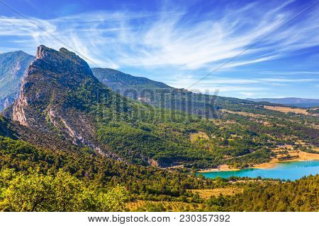 Concept of ecological and active tourism. Provence, Alps, France. Fascinating journey through the azure waters of Verdon River. Canyon and the river Verdon