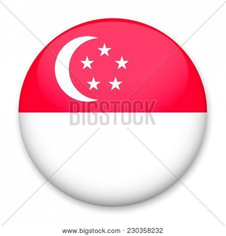 Flag of Singapore in the form of a round button with a light glare and a shadow.