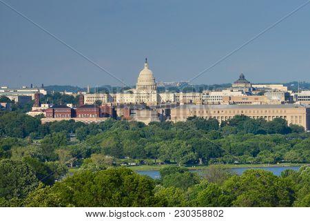 Washington DC skyline in springtime-Washington DC USA