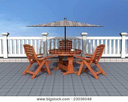 Outdoor patio with chairs and table