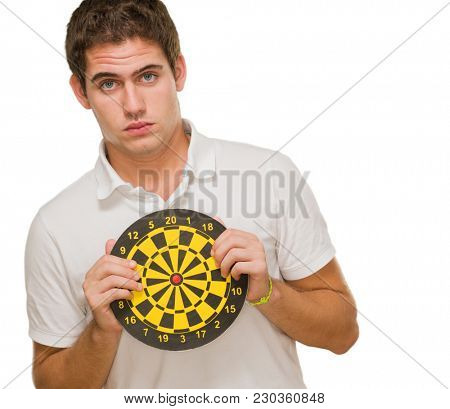 Young Man Holding Dartboard On White Background
