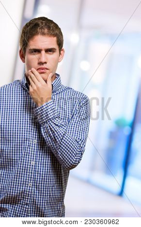 Young Man Thinking, indoor