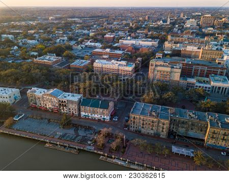 Aerial shot of River Street and downtown Savannah, Georgia.