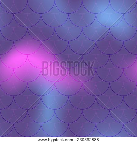 Ultra Violet Pink Mermaid Scale Vector Background. Trendy Iridescent Background. Fish Scale Pattern.