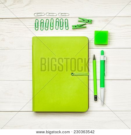 Bright Stationary: Natebook, Pen,pencil, Eraser, Sharpener, And Stick Notes And Flowers On White Woo