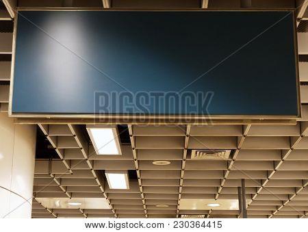 Blank Advertising Light Box On Mrt Station Mockup Of Empty, Ad Billboard On Night Mrt Station Templa