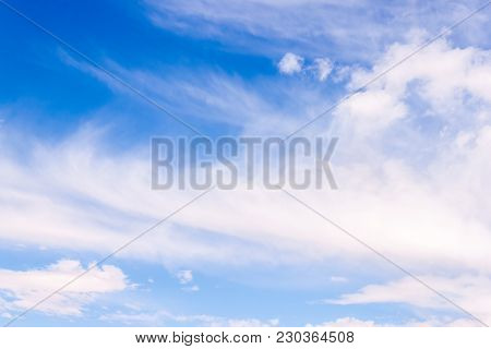 Blue Sky Clouds Formation Shot In A Nice Day, Great Background For Your Next Project