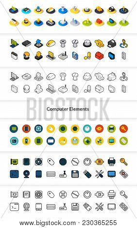Set Of Icons In Different Style - Isometric Flat And Otline, Colored And Black Versions, Vector Symb