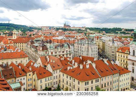 Bird's Eye View Of The City Of Prague With Overcast Sky Seen From The Old Town Hall Tower, Also Know