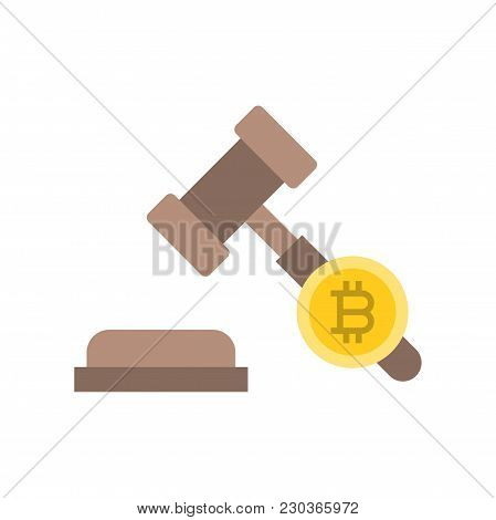 Cryptocurrency Legal Issues Icon, Law Sign, Flat Design