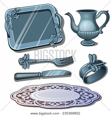 Vintage Silver Tableware Isolated On White Background. Vector Cartoon Close-up Illustration.