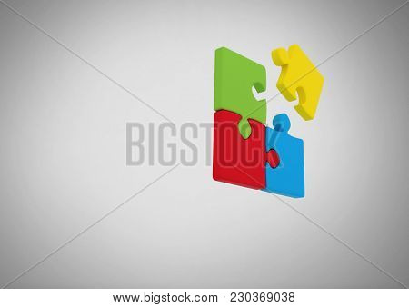 Digital composite of jigsaw puzzle pieces on grey background