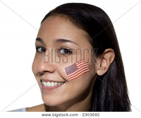 Smiling Woman With American Flag