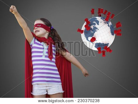 Digital composite of Girl against grey background with superhero costume and world globe with location pins