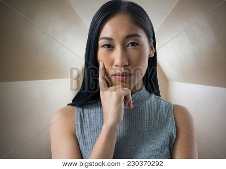 Digital composite of Businesswoman thinking in perspective room