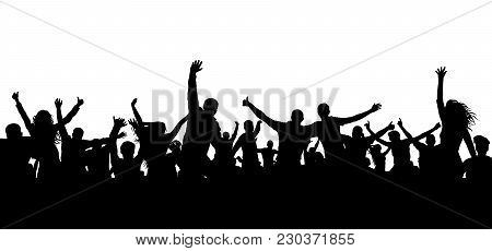 Crowd Cheerful People Silhouette. Happy Group Of Young People Dancing At Musical Party, Concert, Dis