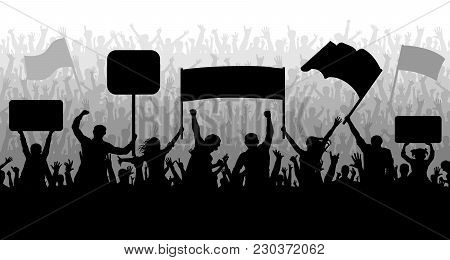 Demonstration, Manifestation, Protest, Strike, Revolution. Silhouette Background Vector. Crowd Of Pe