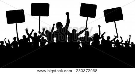 Demonstration, Strike, Manifestation, Protest, Revolution. Silhouette Background Vector. Sports, Mob