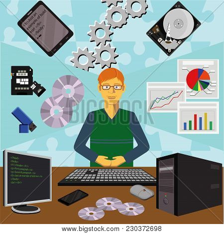 Color Vector Clip Art. Infographics Education. Profession Of The Programmer