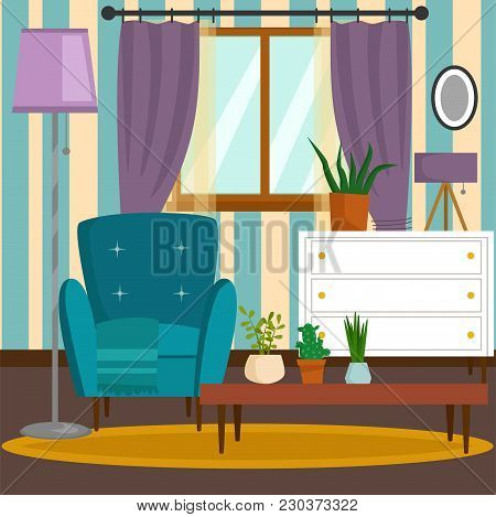 Vip Vintage Interior Furniture Rich Wealthy House Room With Sofa Set Brick Wall Background Vector Il