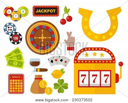 Casino Game Icons Poker Gambler Symbols And Casino Blackjack Cards Gambler Money Winning With Roulet