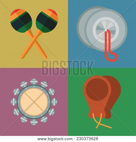 Musical Tambourine Maraca Drum Wood Rhythm Music Instrument Series Set Of Percussion Vector Illustra